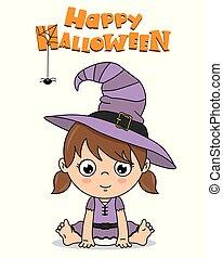 habillé, halloween, haut, sorcière, dorlotez fille