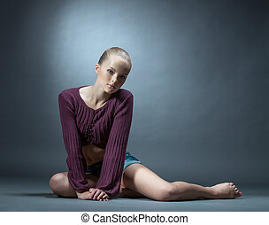 habillé, image, stylishly, poser, studio, girl