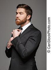 habillé, jeune, costume homme affaires, portrait, beau