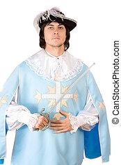 habillé, mousquetaire, épée, homme