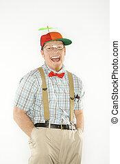 habillé, nerdy., homme
