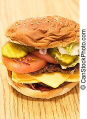 habillé, puits, cheeseburger
