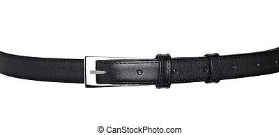 habillement, cuir noir, ceinture, accessoire