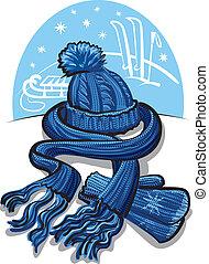 habillement, laine, écharpe, hiver, moufle
