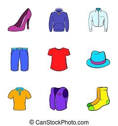 habillement, style, dessin animé, ensemble, icônes