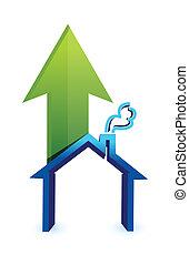 habitação, house., levantar, seta, preços, mercado