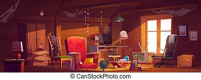 habitación, ático, telarañas, cosas, viejo, abandonado, araña