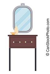 habitación, aislado, fondo., elementos, muebles, espejo, ...