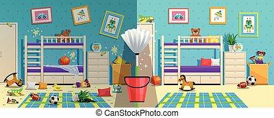habitación, antes, después, desordenado, niños
