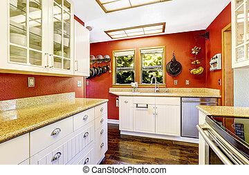 habitación, brillante, paredes, blanco rojo, contraste, cocina