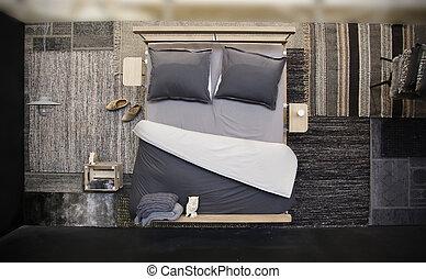 habitación, cama, sobre