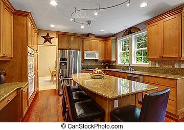 habitación, casa, elegante, interior., interior, cocina