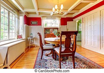 habitación, clásico, diining, gold., elegante, rojo
