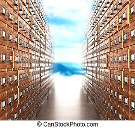 habitación, con, archives., el, archivo, pasillo, con,...