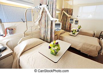 habitación, con, camas, en, hospital