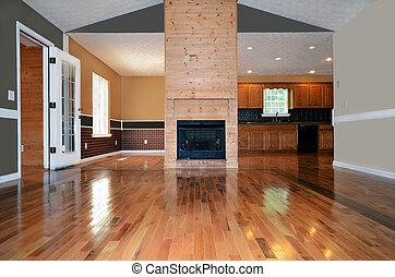 habitación, con, chimenea, y, madera, pisos