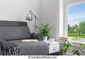 habitación, con, moderno, decoración, y, hermoso, vista