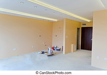 habitación, con, moderno, fue adelante, iluminación
