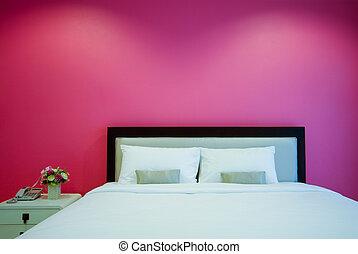 habitación de hotel, cama, noche