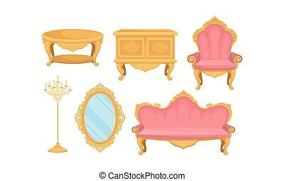 habitación, dormitorio, objetos, vector, conjunto, vida,...