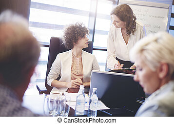 habitación, empresarios, sesión de junta directiva, teniendo