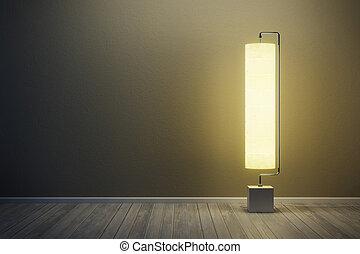 habitación, en, nigh, con, iluminado, lámpara piso