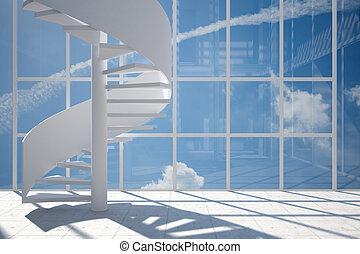 habitación, escalera, espiral