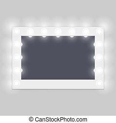 habitación, espejo constitución, bastidores, aliño, iluminado