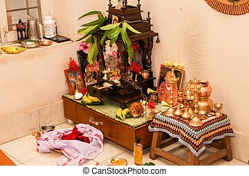 habitación, familia , hindú, indio, oración, hogar, sur,...