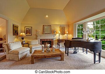 habitación, familia , lujo, piano de cola, chimenea