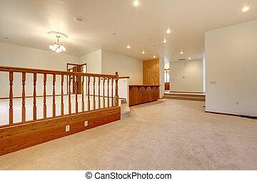 habitación, grande, beige, railing., vacío, alfombra
