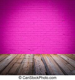 habitación, interior, con, rosa, papel pintado, plano de...