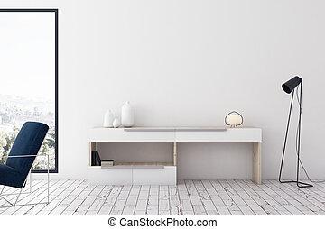 habitación, interior, vida, moderno