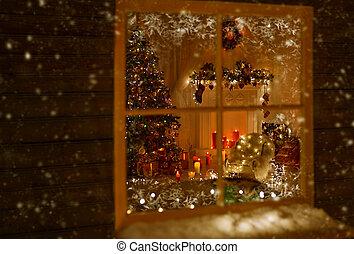 habitación, luces, navidad, ventana, hogar, adornado, feriado, navidad