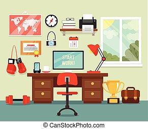 habitación, lugar de trabajo