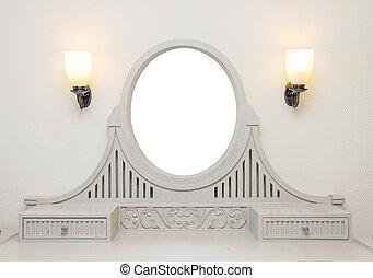habitación, marco de madera, aliño, tallado, blanco, tabla