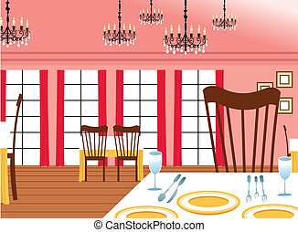 habitación, mesas, dinning