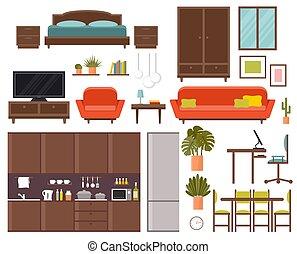 habitación, muebles, set., dormitorio, cocina, cenar