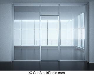habitación, oficina, vidrio, paredes, puertas, vacío