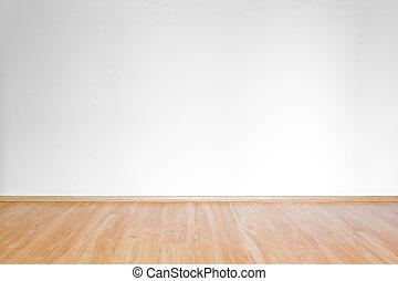 habitación, piso, de madera, limpio, interior, blanco
