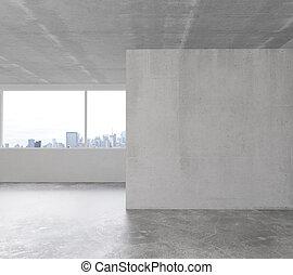 habitación, piso, pared, concreto, blanco, vacío, desván