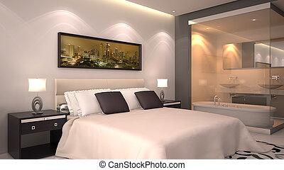 habitación, render, 3d, hotel