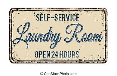 habitación, señal, metal oxidado, lavadero