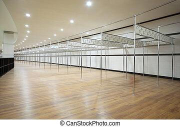 habitación, sectores, tubos, largo, metálico, armario