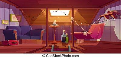 habitación, sofá, cómodo, ático, hamaca, ventana
