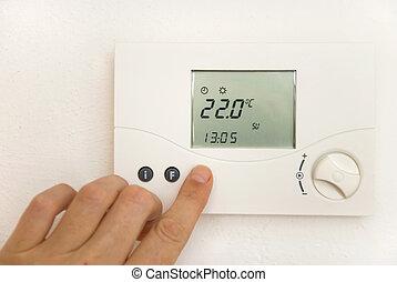 habitación, termostato