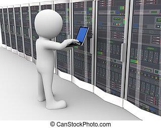 habitación, trabajando, servidor, 3d, datos, hombre