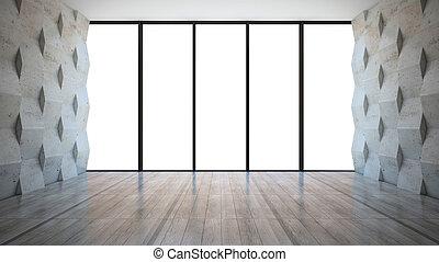 habitación vacía, con, pared concreta, paneles
