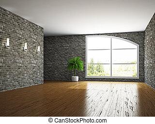habitación vacía, pared, ladrillo