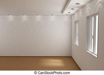 habitación, vacío, 3d